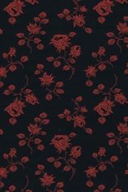 Jacquard coutill  Zwart met rode roos 142 cm breed. (prijs per 50 cm.)