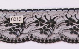 Kant zwart met bloem  en schulp  6 cm breed.
