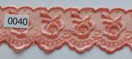Tule kant tule perzik borduursel roos 4 cm breed.