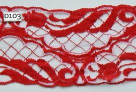 Tule kant rood/roze tulp 10 cm breed.