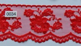 Tule kant rood roos 7 cm breed.