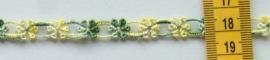 Kant licht groen/geel bloemetje 1 cm breed. Niet rekbaar.