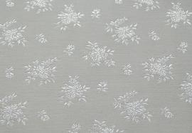 Jacquard coutill  off-white / creme  met kleine witte bloem 142 cm breed. (prijs per 50 cm.)