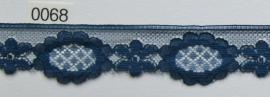 Tule kant donker blauw bloem 3 cm breed. Niet rekbaar.
