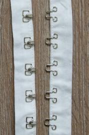 Haak en oog band wit katoen 4 cm breed (sluit open)