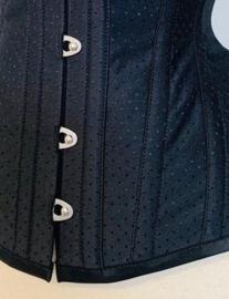 Jacquard coutil zwart met stip 142 breed (prijs per 50cm)
