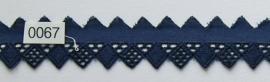 Broderie kant donker blauw zig zag 3 cm breed. Niet rekbaar.