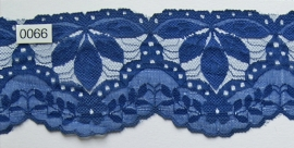 Tule kant donker blauw blad 8 cm breed. Niet rekbaar.