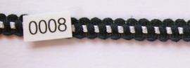 Kant zwart/zilver katoen vlak 1 cm breed.