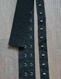 Haak en oog band zwart katoen 5 cm breed (sluit blind)