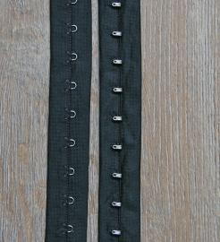 Haak en oog band zwart polyester 2,5 cm breed (sluit blind)