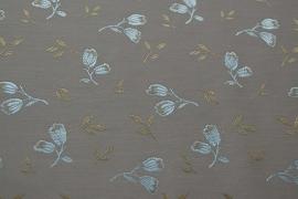 Jacquard coutill  Beige met zilver/gouden tulp 142 cm breed. (prijs per 50 cm.)