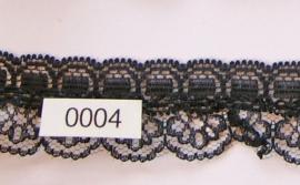 Kant zwart met bloem  3 cm breed.