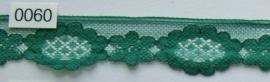 Tule kant groen bloem 3 cm breed. Niet rekbaar.