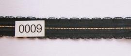 Kant zwart met zilver stiksel en schulp  1,5 cm breed.