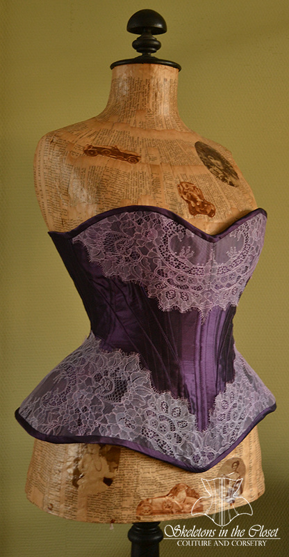 Purple silk Edwardian corset