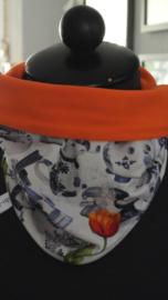Delfts blauw met effen oranje nr 003