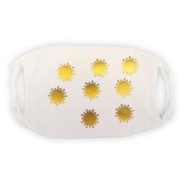 mondkapje wit met gouden coronavirusjes
