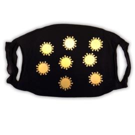 mondkapje zwart met gouden coronavirusjes