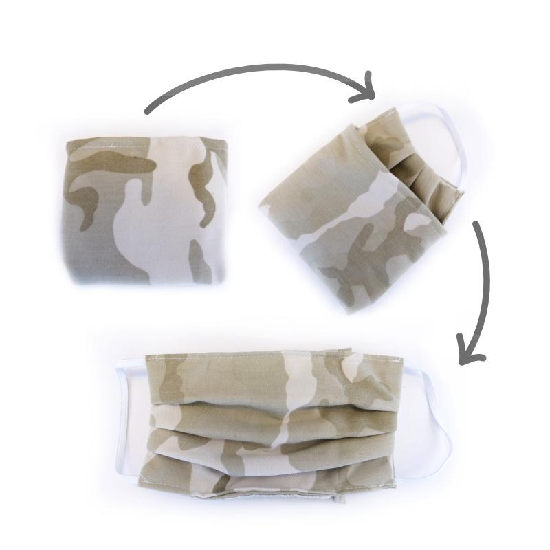 mondkapje uitvouwbaar met camouflageprint licht