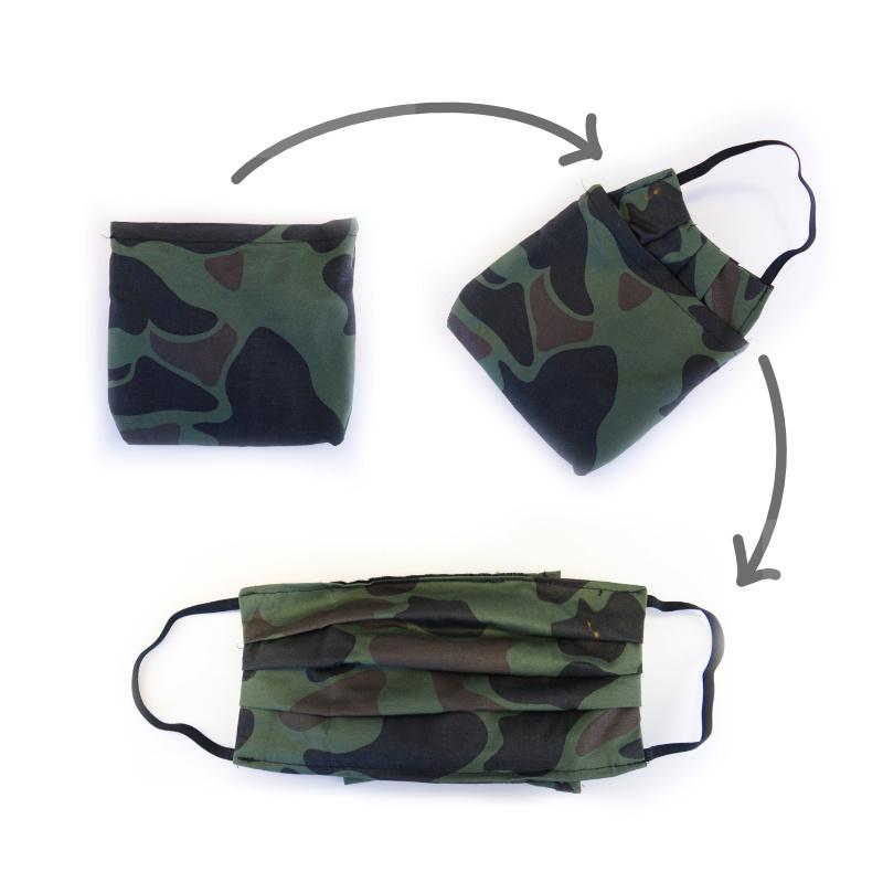 mondkapje uitvouwbaar met camouflageprint