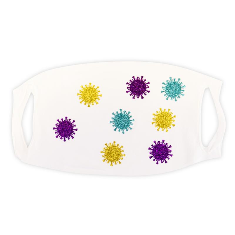 mondkapje wit met glitter coronavirusjes