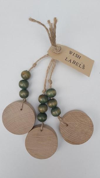Houten wish-labels groen
