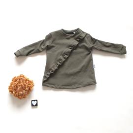 Wijde trui Ruffel diagonaal French Terry kleur keus