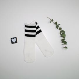 Knie kousen White and Black stripes