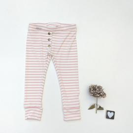 Legging/broekje  Jersey Rib grijs of roze/creme gestreept