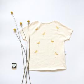 T-Shirt creme gouden flamingo's