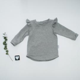 Longsleeve Ruffels ronde onderkant Grey
