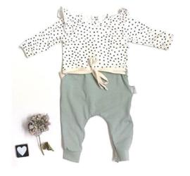 Onesie ruffels combi kleur small dots/dusty khaki