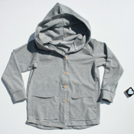 Hooded vest tricot grey