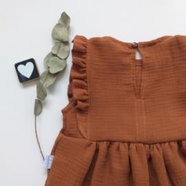 Geplooide hydrofiel  jurk  ruffels B&F stof keuze