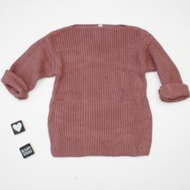 Gebreide trui oud roze (boothals)