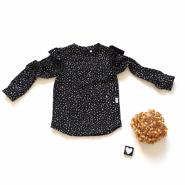 Longsleeve Ruffels black and white smal dots