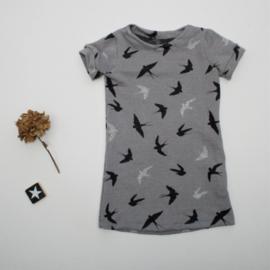 A-lijn Jurkje Birds grey
