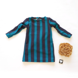 A-lijn jurk petrol/donker grijs