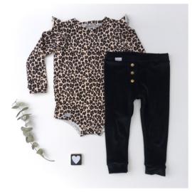 Bodysuit  met ruffels zonder taille bandje luipaard
