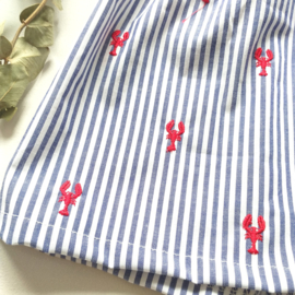 Geplooide hydrofiel  jurk  ruffels B&F lobster
