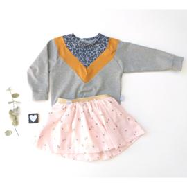 Isa Sweater Luipaard Grijs blauw , oker  grijs