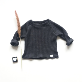 Trui big knit donker grijs