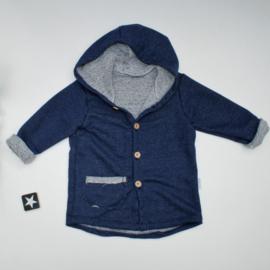 Hooded vest sweaterstof met spikkeltjes blauw