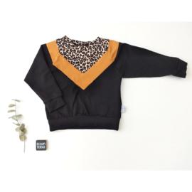 Isa Sweater Luipaard oker zwart