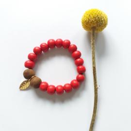 Houten kralen armband rood
