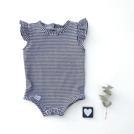 Bodysuit  met ruffels zonder taille bandje small stripes