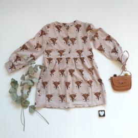 Geplooide jurk met knoop sluiting  hertjes organic 🌱