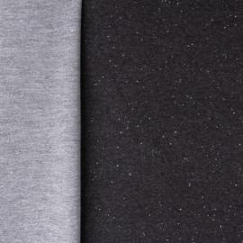French terry donker grijs gespikkeld