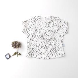 Wijd t-shirt ruffels rond over de borst smal dots